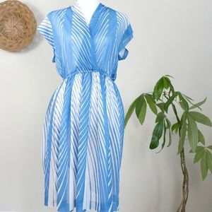 Vintage | 70s Blue White Striped Midi Dress